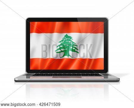 Lebanon Flag On Laptop Screen Isolated On White. 3d Illustration Render.