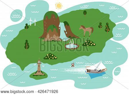 Map Of Area And Attractions Of Green Island Top View. Famous Landmarks Park And Waterfall, Adventure