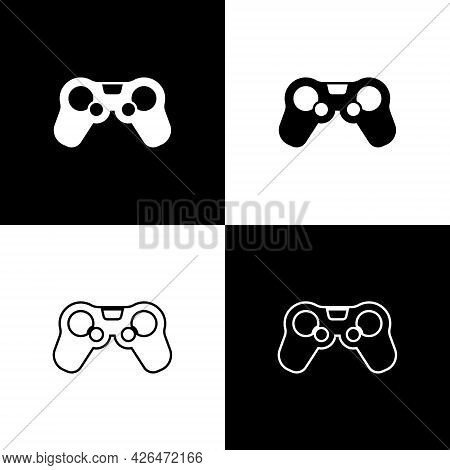 Set Gamepad Icon Isolated On Black And White Background. Game Controller. Vector