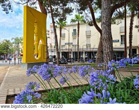 Juan Les Pins, France - 28 June, 2021: People Walking In The Park Called La Pinede. The City Is Famo