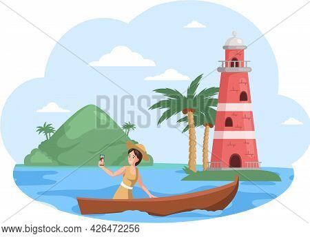 Traveler Photographing Tourists Attraction Of Wonderful Place Of Visit, Trip To Island. Woman Takes