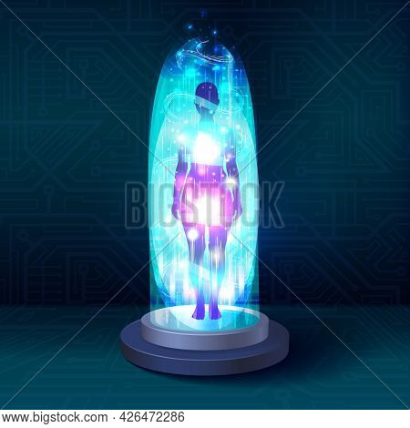 Magic Portal, Sci-fi Teleport With Human Body Silhouette