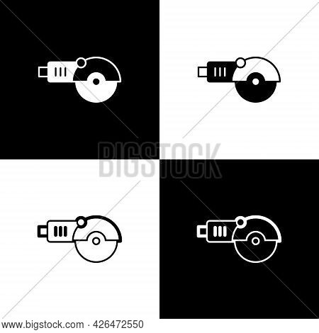 Set Angle Grinder Icon Isolated On Black And White Background. Vector