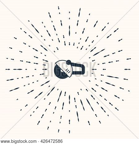 Grey Angle Grinder Icon Isolated On Beige Background. Abstract Circle Random Dots. Vector