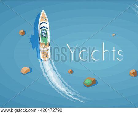 Yachts Maritime Ships At Sea, Shipping Boats Top View. Water Transport Sail Boat Regatta Event Ocean
