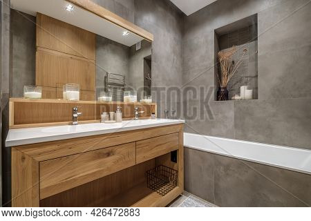 Details Of Corner With Water Tap Sink With Faucet With Soap And Shampoo Dispensers In Expensive Bath