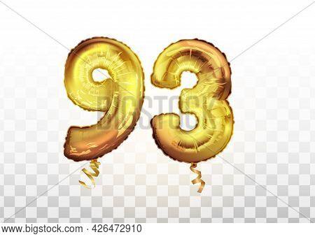 Vector Golden Foil Number 93 Ninety Three Metallic Balloon. Party Decoration Golden Balloons. Annive