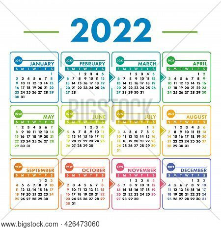 Calendar 2022 Year. Vector Square Colorful Calender Design Template. Week Starts On Sunday