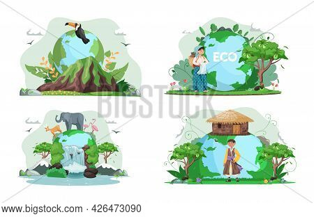 Climate And Weather Change Of Planet. Eco Friendly, Biodiversity, Conservation And Environmental Pro