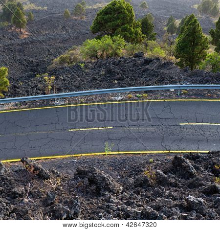 La Palma road detail in volcanic lava landscape at Canary Islands