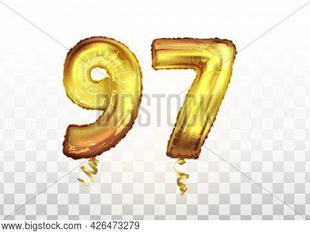 Vector Golden Foil Number 97 Ninety Seven Metallic Balloon. Party Decoration Golden Balloons. Annive