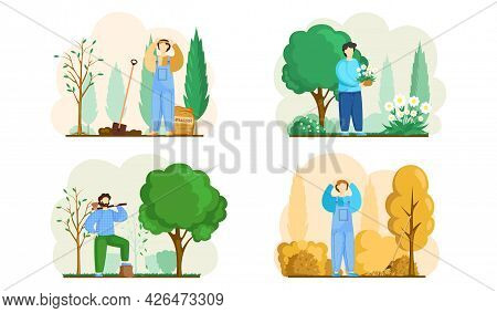 Gardener Working In Yard Scenes Set. Male Handyman Character Plants Flowers And Trees In Graden, Rak