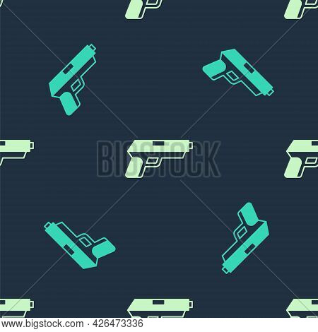 Green And Beige Pistol Or Gun Icon Isolated Seamless Pattern On Blue Background. Police Or Military