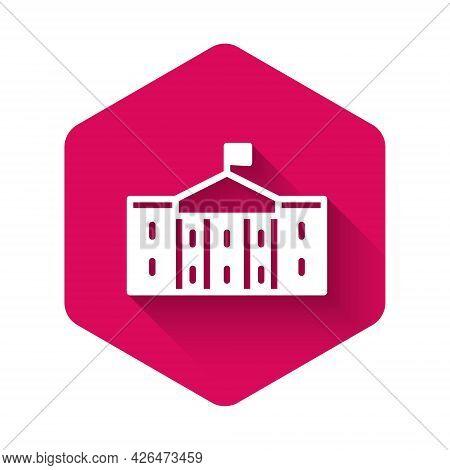 White United States Capitol Congress Icon Isolated With Long Shadow Background. Washington Dc, Usa.