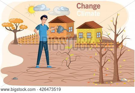Change Climate, Problem Of Disappearing Water Sources, Drought, Ecological Disaster On Planet. Earth