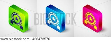 Isometric Medal With Star Icon Isolated On Grey Background. Winner Achievement Sign. Award Medal. Sq