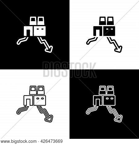 Set Shutdown Of Factory Icon Isolated On Black And White Background. Industrial Building. Vector