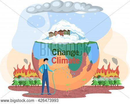 Man Cares About Planet Watering Dead Tree. Dried, Hot And Lifeless Land With Cracks. Change Climate,