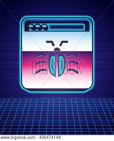 Retro Style System Bug Concept Icon Isolated Futuristic Landscape Background. Code Bug Concept. Bug