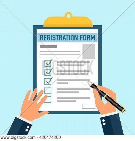 Businessman Filling Registration Form Document In Flat Design.