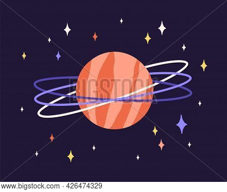 Abstract Planet Globe With Rings And Red Surface In Outer Space. Alien World With Cosmic Sphere And