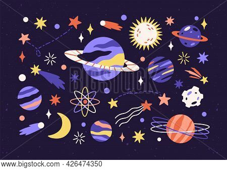 Set Of Planets, Stars, Asteroids, And Comets In Outer Space. Bundle Of Different Abstract Cosmic Obj