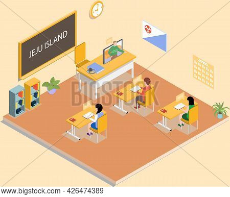 Pupils And Teacher In Classroom. Online Instructor Teaches Geography To Pupil Character To Children.