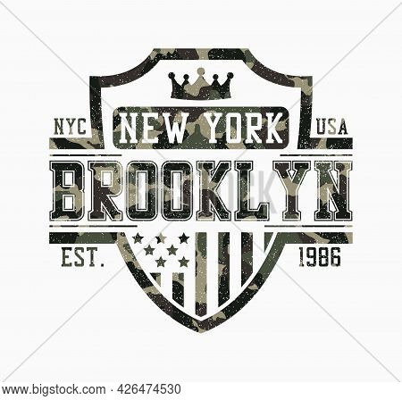 Brooklyn Shield Design For Camouflage T-shirt. New York Camo Tee Shirt Print With Shield, Crown, Usa