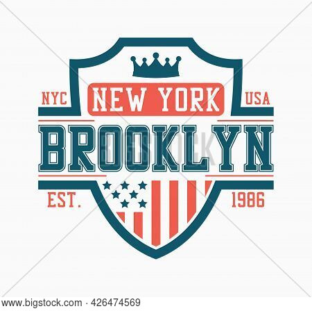 Brooklyn Shield Design For College T-shirt. New York Stylish Tee Shirt Print With Shield, Crown And