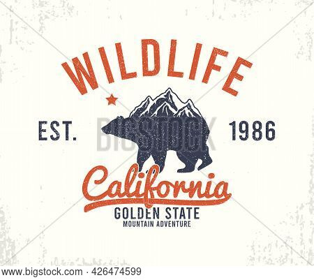 California Typography Graphics With Mountains And Bear For T-shirt Design. Wildlife - Slogan For App