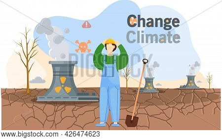 Save Planet, Climate Change Concept With Man In Worker S Suit Stands With Shovel On Dry Cracked Grou