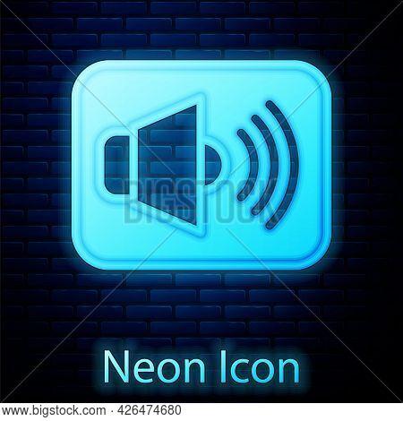 Glowing Neon Speaker Volume, Audio Voice Sound Symbol, Media Music Icon Isolated On Brick Wall Backg