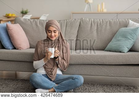 Drinking Hot Coffee And Enjoying Morning In Dreamy And Relax, Takes A Break At Home