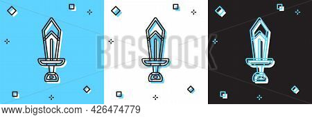 Set Sword For Game Icon Isolated On Blue And White, Black Background. Vector