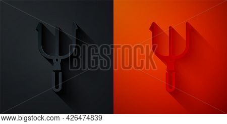 Paper Cut Neptune Trident Icon Isolated On Black And Red Background. Paper Art Style. Vector
