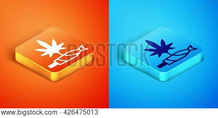 Isometric Marijuana Joint, Spliff Icon Isolated On Orange And Blue Background. Cigarette With Drug,