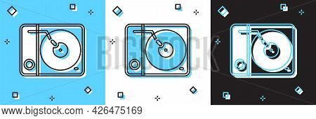 Set Vinyl Player With A Vinyl Disk Icon Isolated On Blue And White, Black Background. Vector