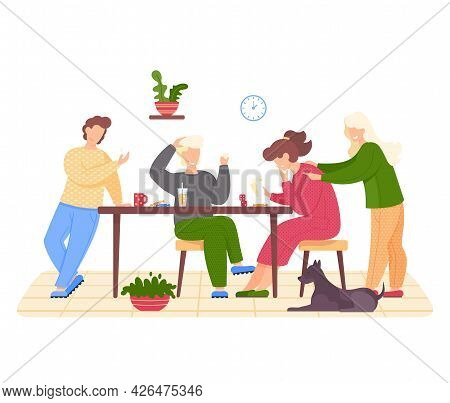 Happy Family Sitting At Table And Playing Board Game. Living Room Interior With Pet Dog At Home. Par