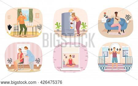 Set Of Illustrations About Healthy And Unhealthy Lifestyle. Sport, Yoga, Exercises, Proper Nutrition