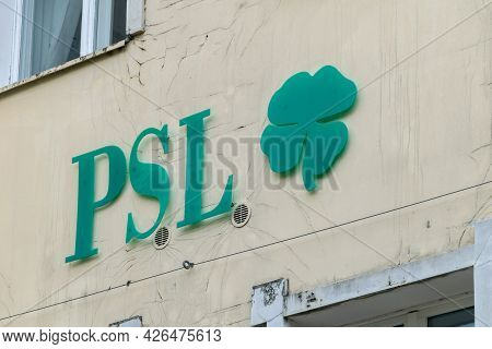 Zielona Gora, Poland - June 1, 2021: Sign And Logo Of Psl. Psl Is Polish People's Party (polish: Pol