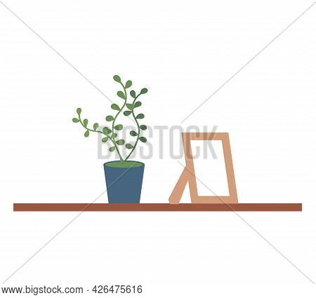 Bookshelf With Photo And Potted Plant For Room Interior. Home Library With Literature, Vector Illust