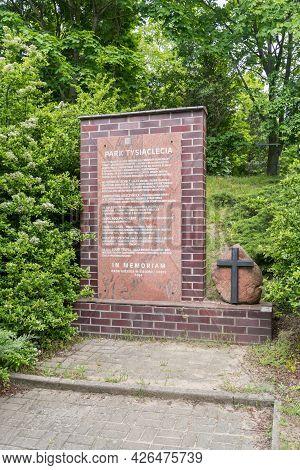 Zielona Gora, Poland - June 1, 2021: Millennium Park (polish: Park Tysiaclecia) 1837-1959 Municipal