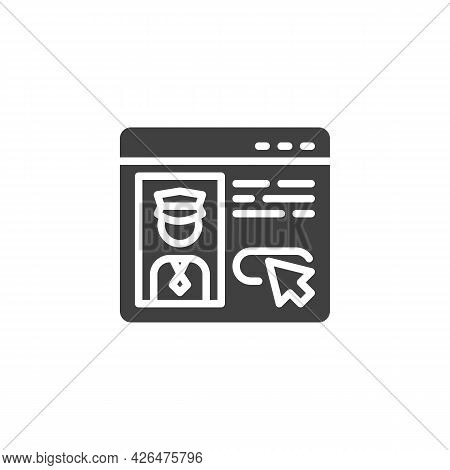 Taxi Driver Review Vector Icon. Filled Flat Sign For Mobile Concept And Web Design. Taxi Driver Feed
