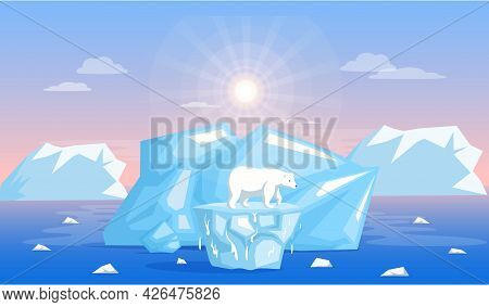 Polar Bear Escapes Climate Change And Increase Of Temperature. Animals During Global Warming. Polar
