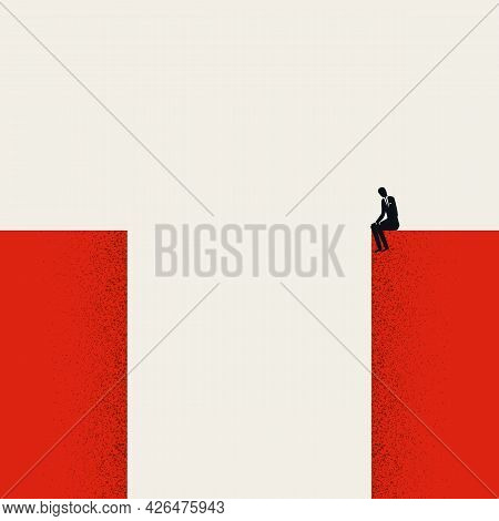 Finding Solution Business Vector Concept. Symbol Of Challenge, Obstacle And Overcome. Minimal Illust