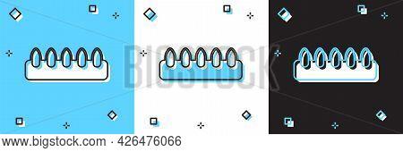 Set Set Of False Nails For Manicure Icon Isolated On Blue And White, Black Background. Varnish Color