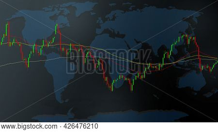 Illustrator Candlestick And Moving Average Line Of Stocks Chart On World Map And Dark Blue Backgroun