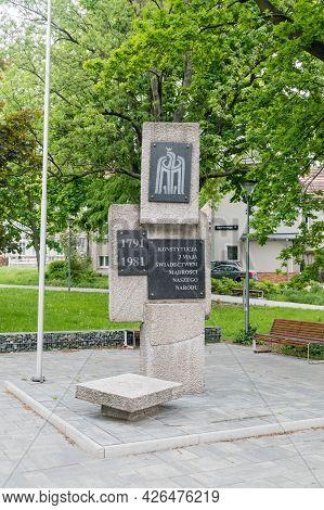 Zielona Gora, Poland - June 1, 2021: Memorial Of Constitution Of 3 May 1791.