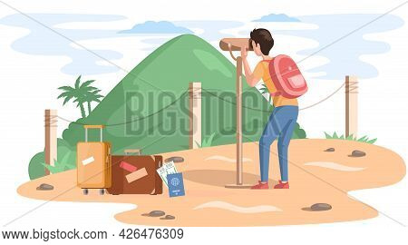 Travel And Vacation. Male Character In Vacation With Backpack. Hiking Tourism On Natural Landscape.