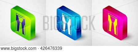 Isometric Wetsuit For Scuba Diving Icon Isolated On Grey Background. Diving Underwater Equipment. Sq